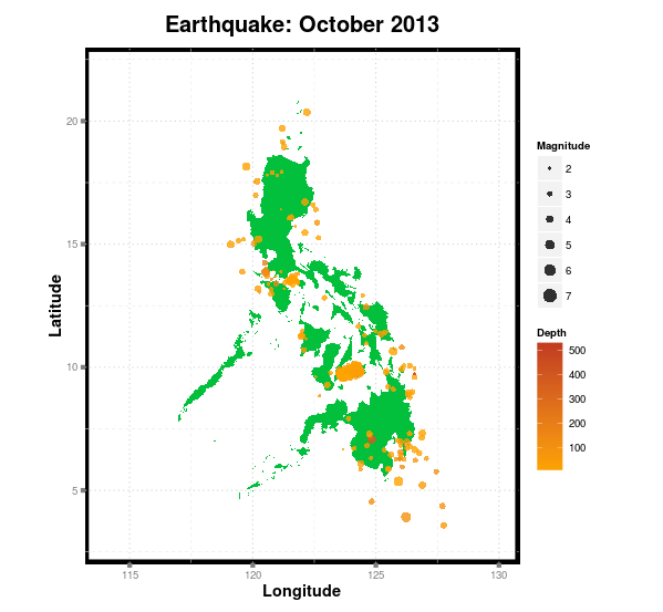 R: Mapping Philippine Earthquakes (October 2013)