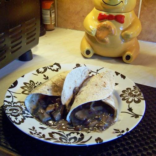 mushroom stew in tacos