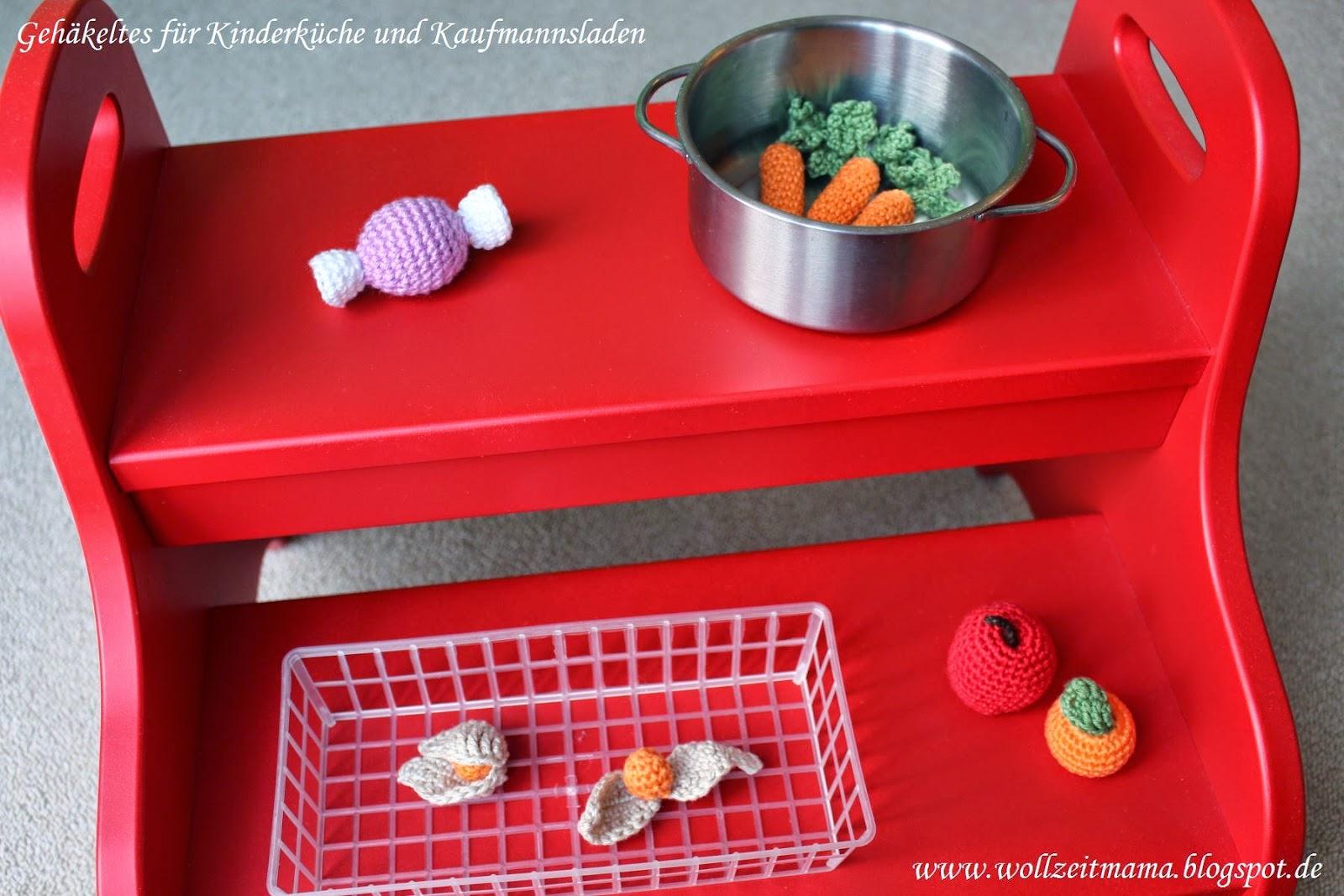 Gehäkeltes Obst, Gemüse und Süßes für Kinderküche und Kaufmannsladen