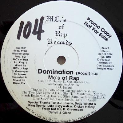 MC's Of Rap – Domination (1986, 12'', 256)
