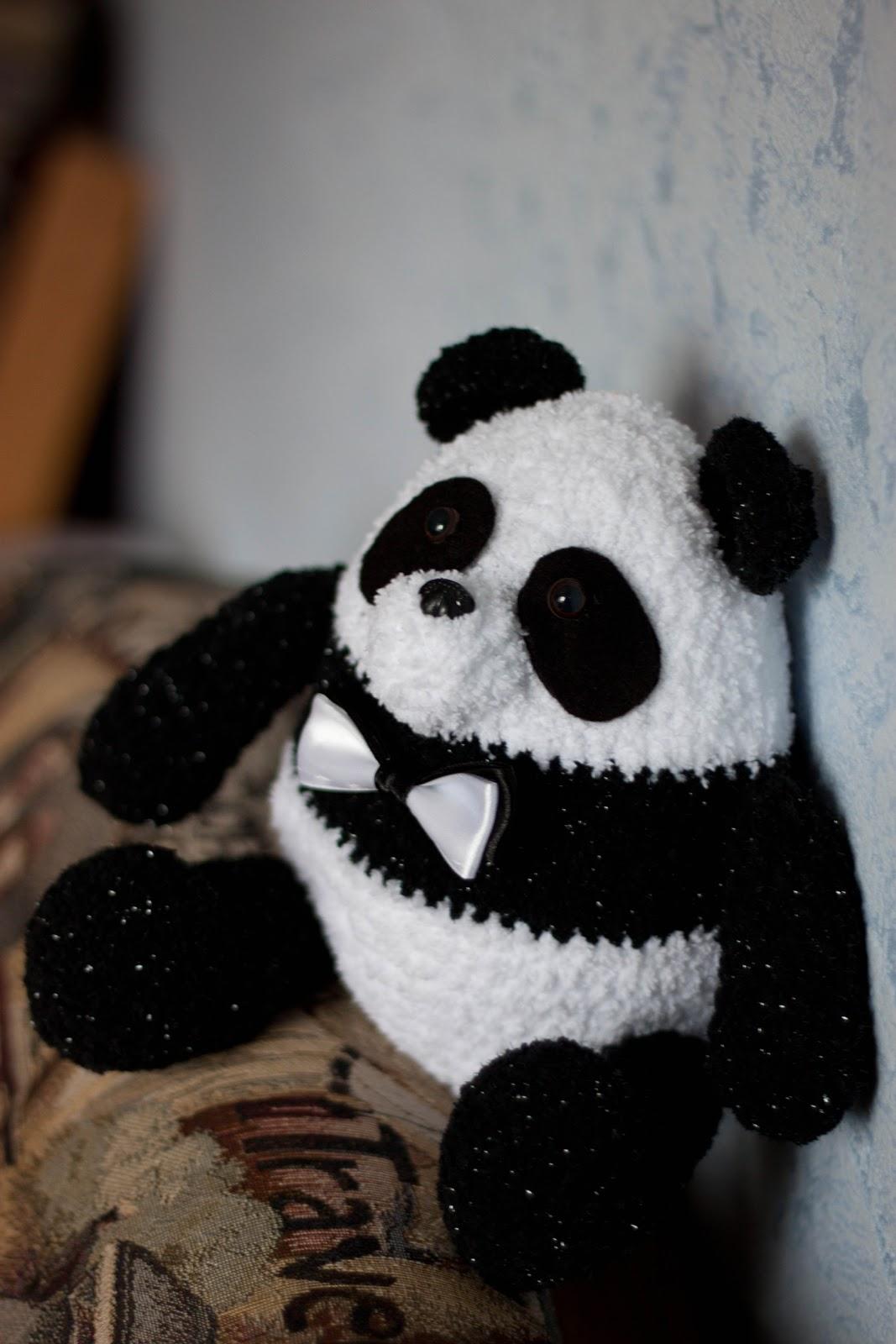 Вязание игрушки панды крючком