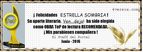 TOP RECOMENDADO DE LECTURA MES DE JUNIO 4 VERSOS