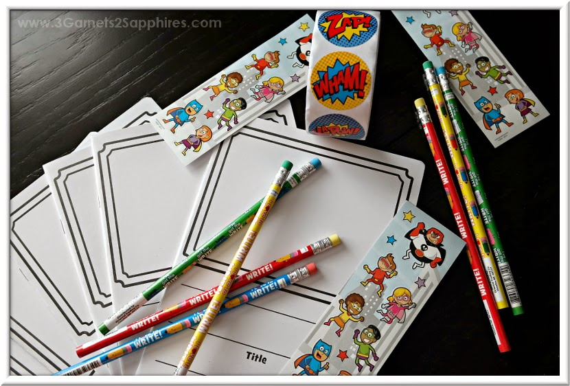 Make-your-own comic book goodie bags for classroom and birthday party favors  |  www.3Garnets2Sapphires.com