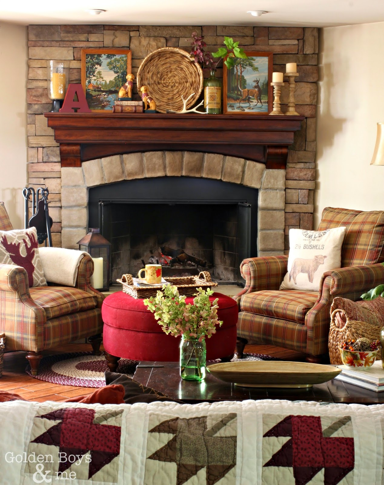 Fall decor in family room with stone fireplace-www.goldenboysandme.com