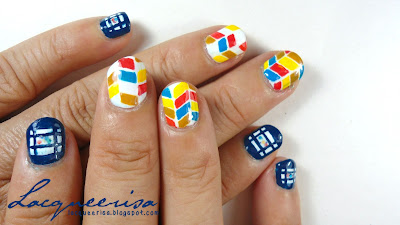 Lacqueerisa: Mum's Nails - Blue Frames and Herringbones!