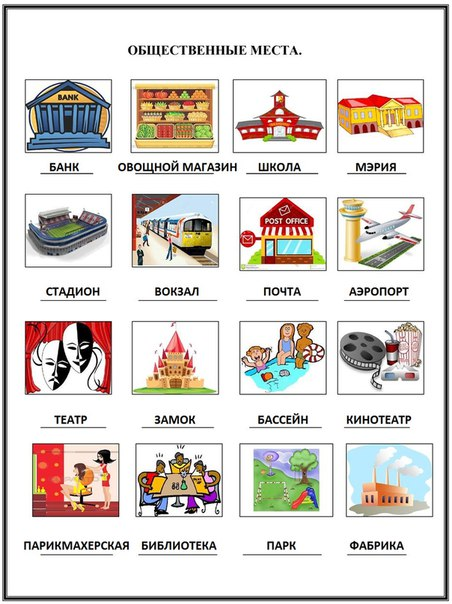 Public places in Russian