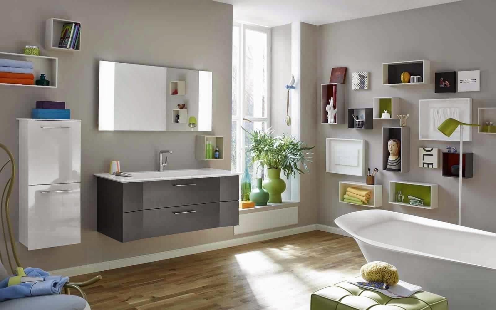 Meuble salle de bain gris meuble d coration maison - Salle de bain aubergine et gris ...