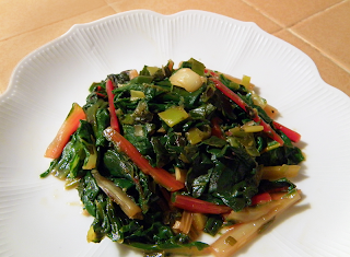 Plate of Rainbow Chard Braised with Leeks and Garlic