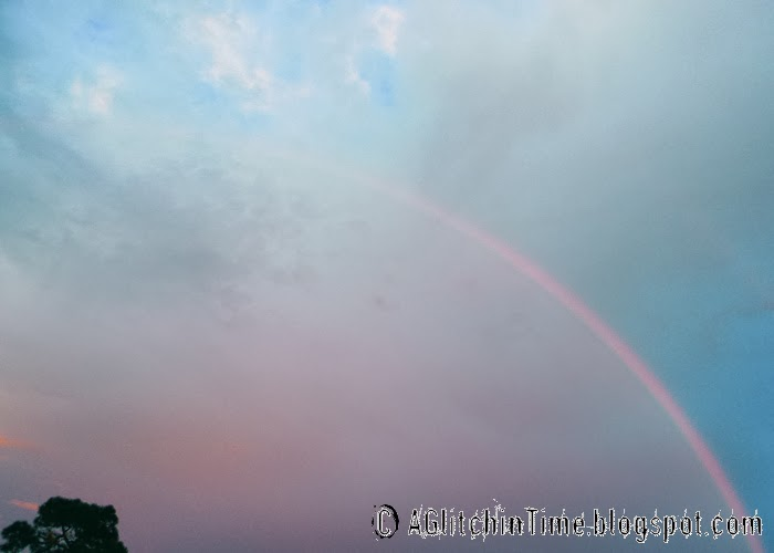 Rainbow in the eastern sky just before sunset.