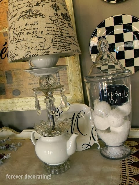 Forever Decorating shard her White Teapot Crystal Lamp featured at One More Time Events.com