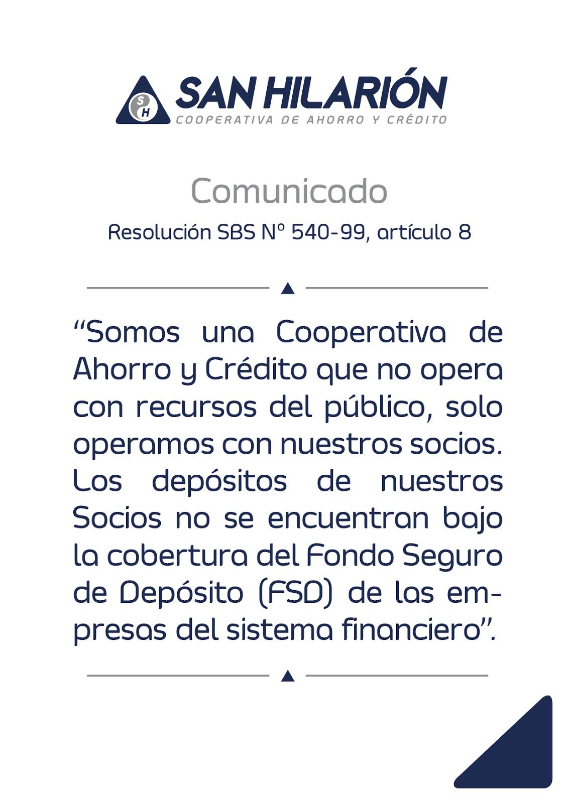 COMUNICADO SBS