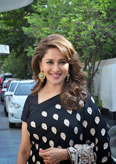 Madhuri Dixit Looks Reallly Cute and Beautiful in Black Saree on Dance India Dance   Super Moms