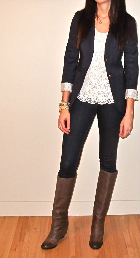 Gorgeous lace, blazer and boots combo fashion