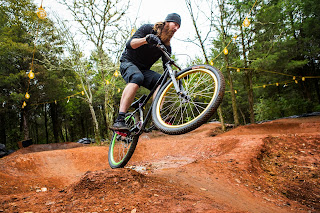 mountain biker, pump track, Knoxville, Tennessee, shaggy, mountain bike, Urban Wilderness