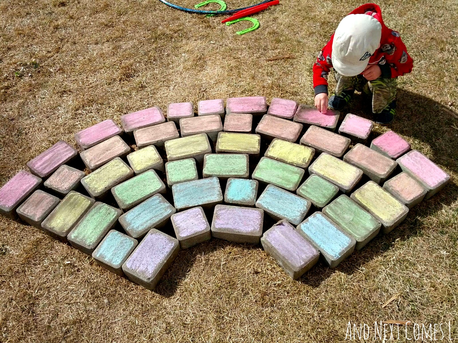 Coloring a chalk rainbow from And Next Comes L