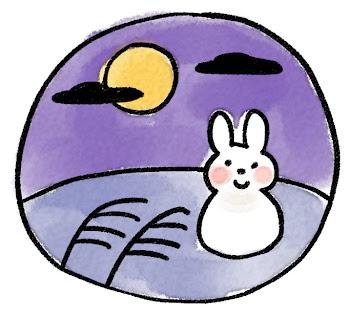 お月見のイラスト「十五夜のうさぎとすすき」