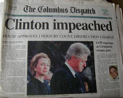 the impeachment of president bill clinton A tweet claiming that all republican speakers of the house involved with bill clinton's impeachment experienced sex scandals was mostly accurate.