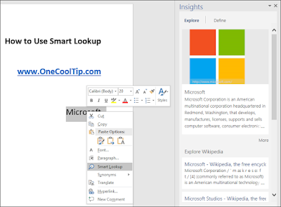 Office 2016 Smart Lookup