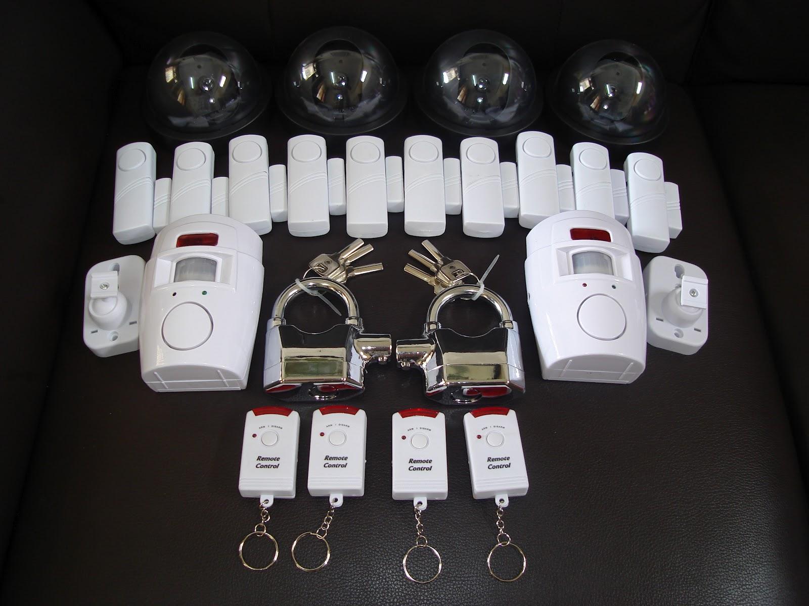 HARGARM300 Harga Asal RM312 10 Unit Wireless Alarm System 2 Sensor 4 Dummy CCTV Padlock