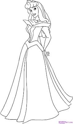 Desenho Para Colorir a Bela Adormecida, a princesa Aurora da disney para pintar e colorir
