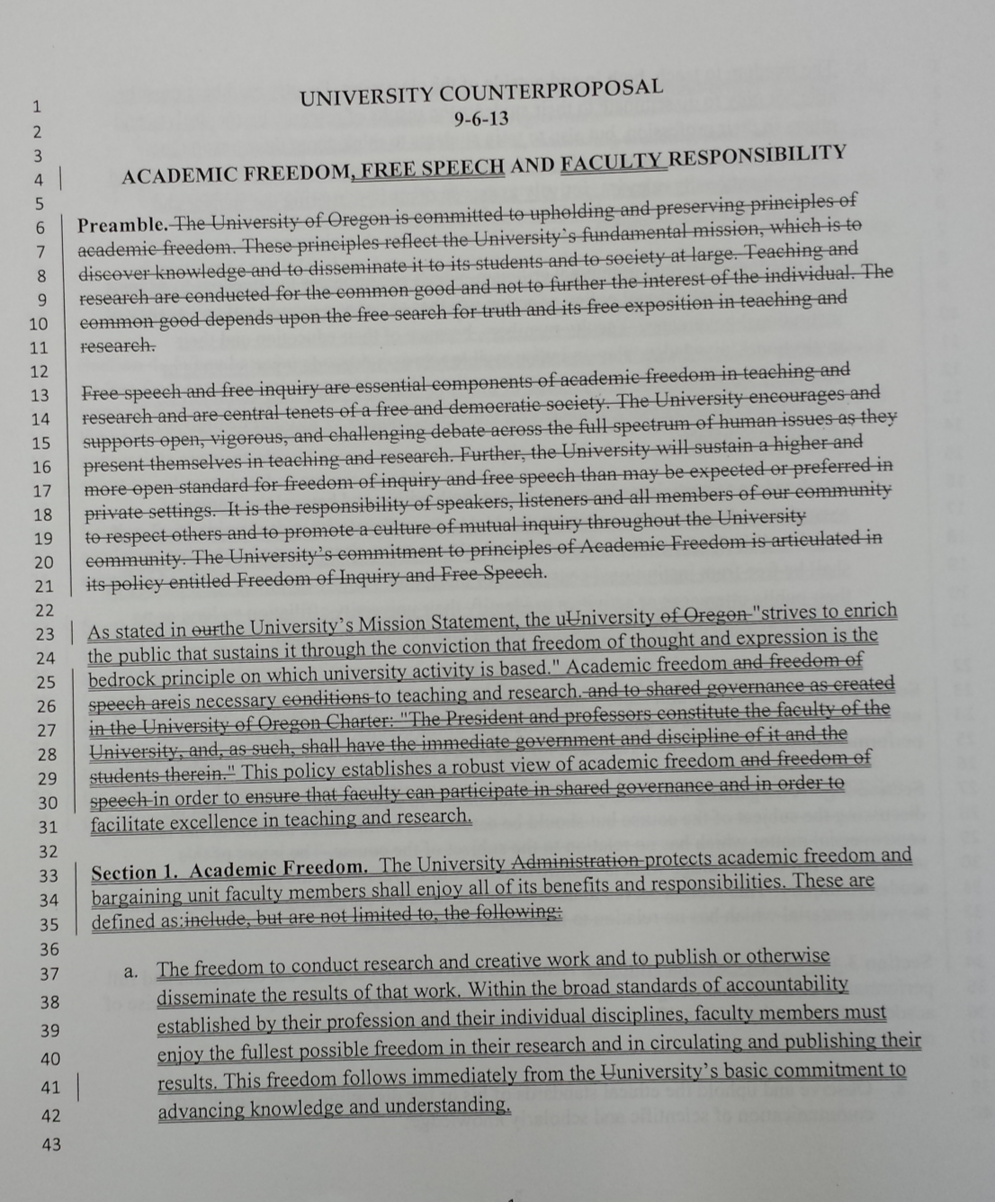 live blog uo matters dom consistent the long standing principles of the american association of university professors the administration proposal could potentially