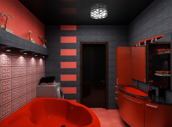 Juegos De Baño Rojos:Red and Black Bathroom Ideas