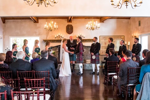 Kim and Adam wed at DeLittle Cellars - Kent Buttars, Seattle Wedding Officiant, in kilts