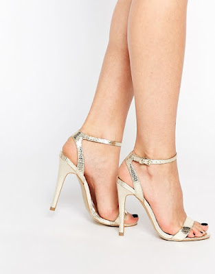 Head Over Heel gold barely there stiletto heels
