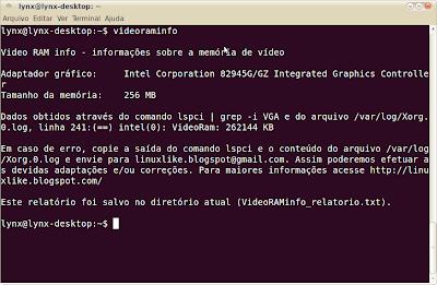 Video RAM info - modo texto