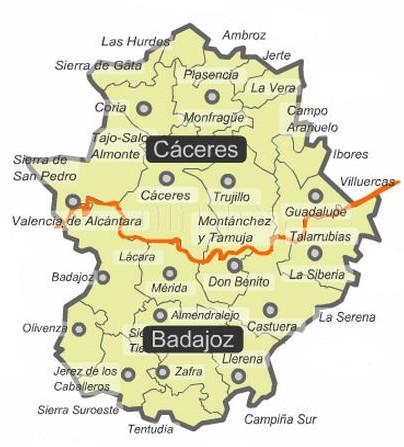 Mapa político de Extremadura
