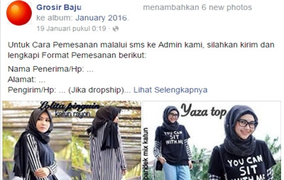 facebook jual baju