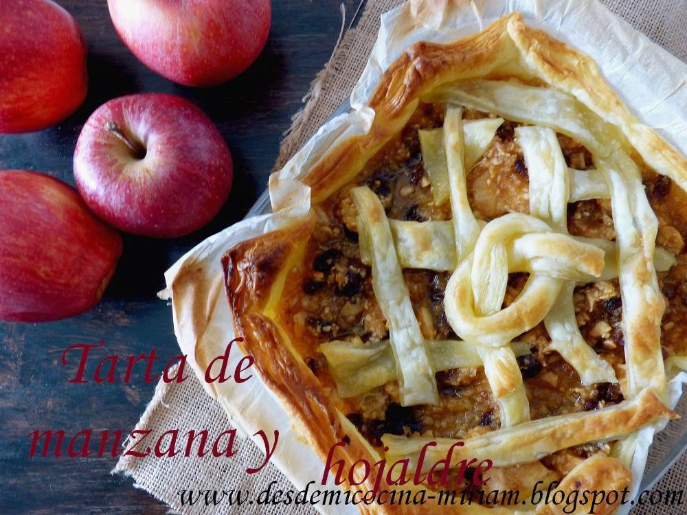 Tarta de manzanas sobre base de hojaldre