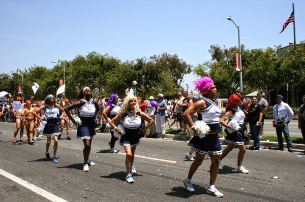 Drag cheerleaders West Hollywood Pride Parade 2014