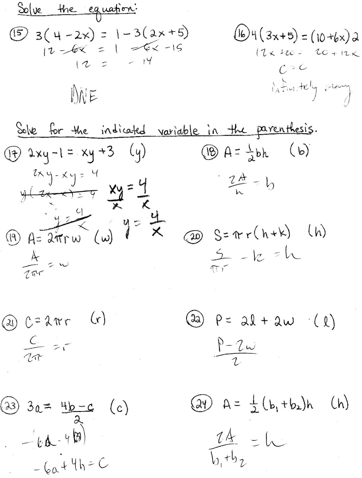 Worksheets Literal Equations Worksheets mr suominens math homepage linear literal equations equations