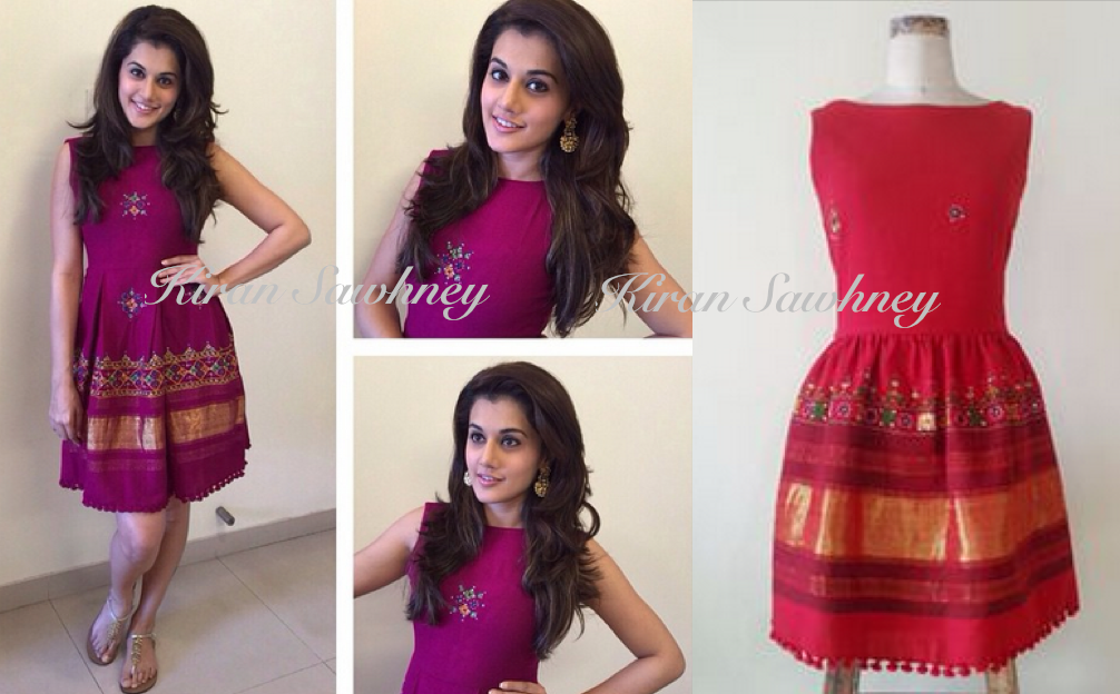 Taapsee Pannu Times Live chat wearing dress by Mogra