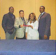 Members of SHSU NABCJ accept national award.