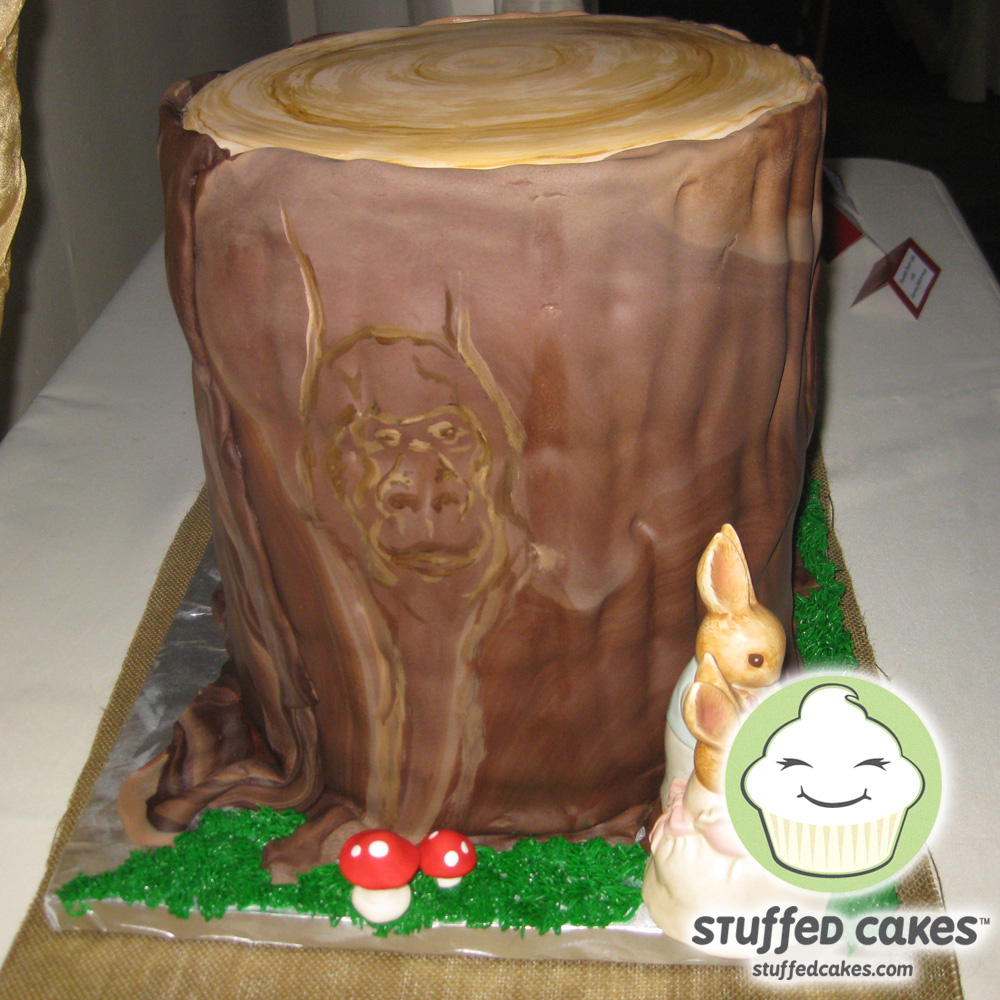 Stuffed Cakes Tree Stump Wedding Cake