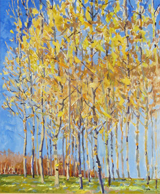 oil painting of spring trees, bronze