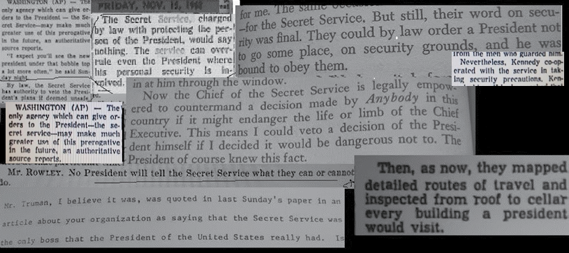 The Secret Service was the boss of JFK