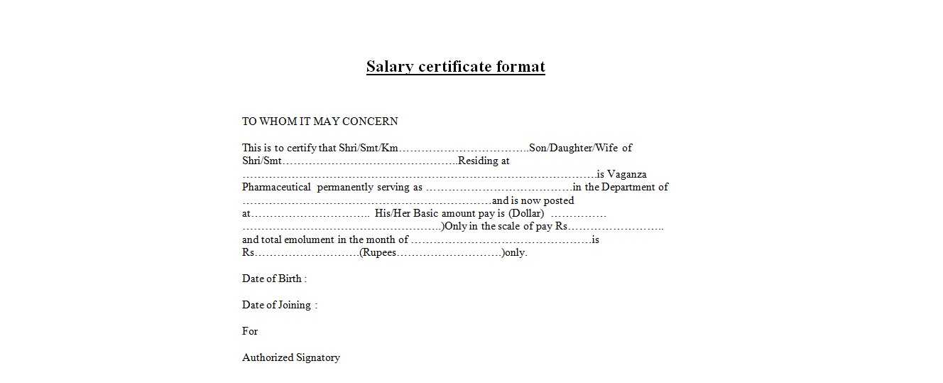 Salary Certificate Format Sample  Pay Certificate Sample