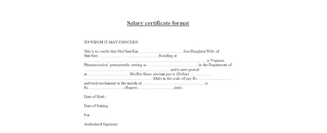 salary certificate format sample