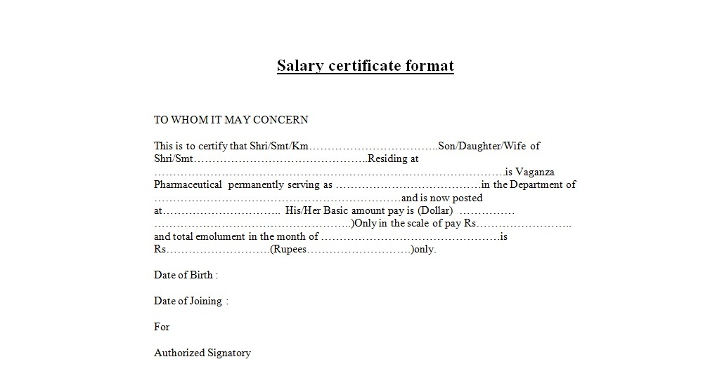 Salary Certificate Format – Salary Certificate Template
