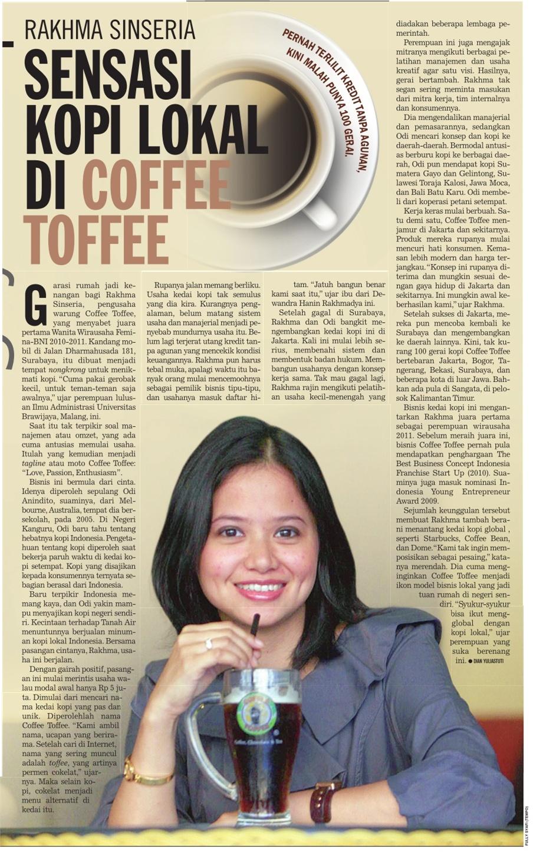 Rakhma Sinseria, sensasi kopi lokal di Coffee Toff
