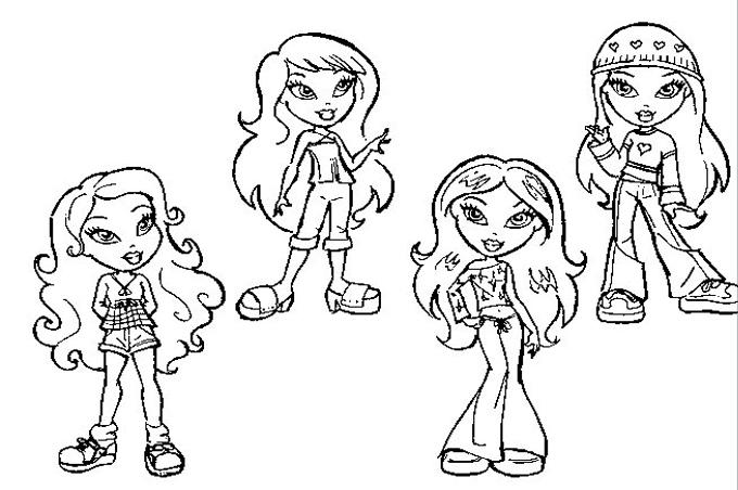 اوضاع مختلفة لملابس البنات في صورة تلوين للاطفال