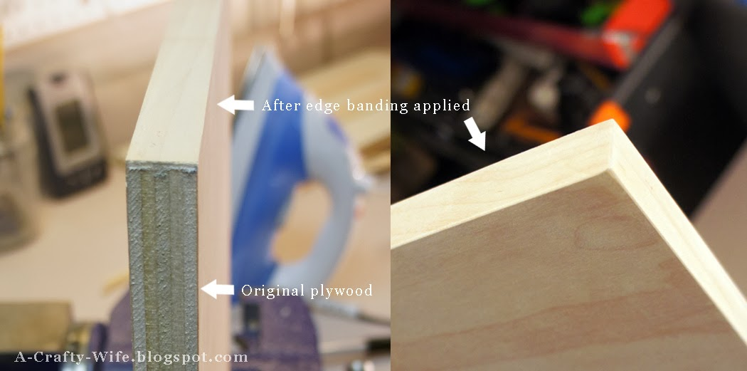 Before and after of applying edge banding for Ikea Rast hack | A Crafty Wife