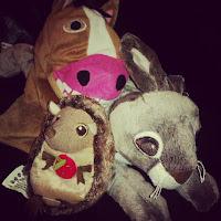 Ikea Soft Toys, Klappar Lantlig horse glove puppet, squeaky hedgehog, vandring hare