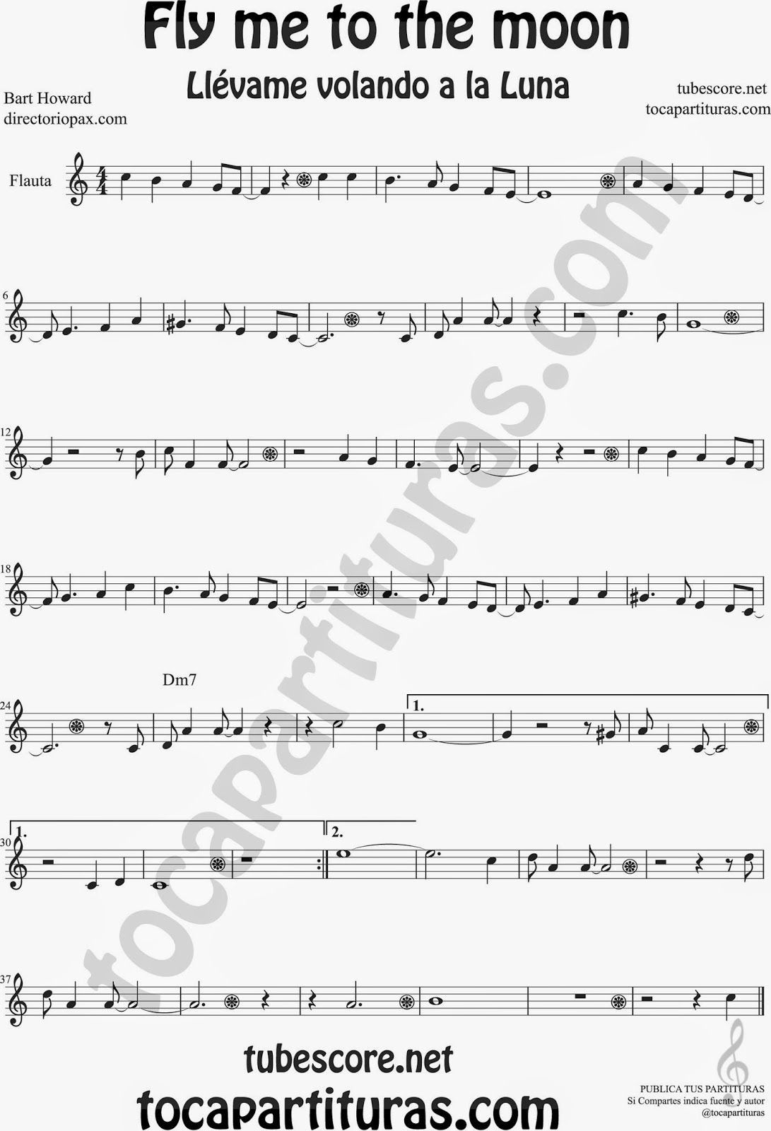 Fly me to the Moon Partitura de Flauta Travesera, flauta dulce y flauta de pico Sheet Music for Flute and Recorder Music Scores