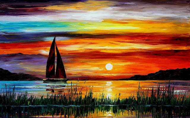 Sunset in Lake Water Color Painting