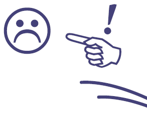 Drawing of a hand with a finger pointing directly at a frowning face drawing