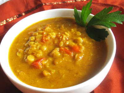 Toor Dal Soup with Dried Apricots and Coconut Milk